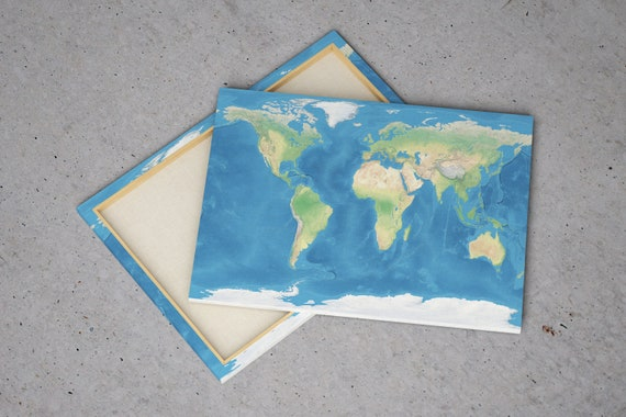 Canvas World Map Realistic Earth With Oceans Etsy