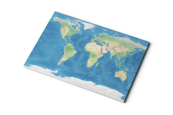 Carte Du Monde Realiste.Carte Du Monde En Toile Terre Realiste Avec Des Oceans