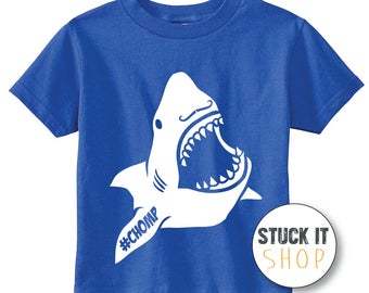 SHARK MOUSTACHE  #chomp Tee - Youth/Kids/Juvy