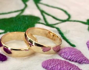 SALE - Yellow Gold His & Hers Wedding Band Set - Couple's Wedding Ring Set - Solid 14k Gold Wedding Bands