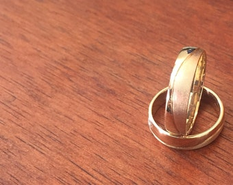 SALE - Couple's Solid Yellow Gold Wedding Band Set - His & Hers Wedding Ring Set - Wedding Bands - Couple's Rings