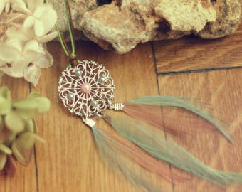 Dream, dream necklace, boho, bohemian, boho necklace, feather necklace