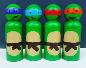 Ninja Turtles - UNFINISHED Wooden Peg Dolls - DIY Kit