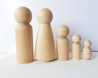 BLANK Wooden Peg Dolls
