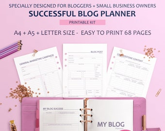 Printable Blog Planner, Blogging Planner, Blog Post Planning, Editorial Planner, Blog Post Planner, Blog Planner Pages, Social Media Planner