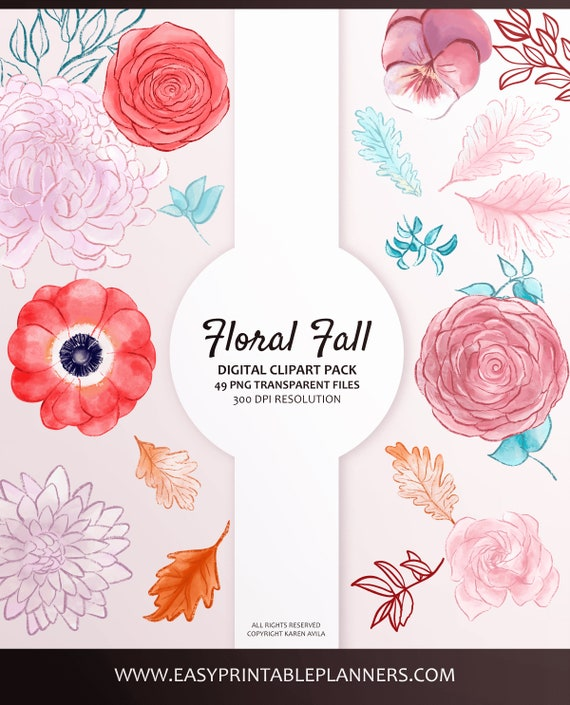 Leaves Digital Scrapbooking and Peonies For Planner Stickers Autumn Clip Art with Anemones Roses etc Watercolor Floral Fall Clipart