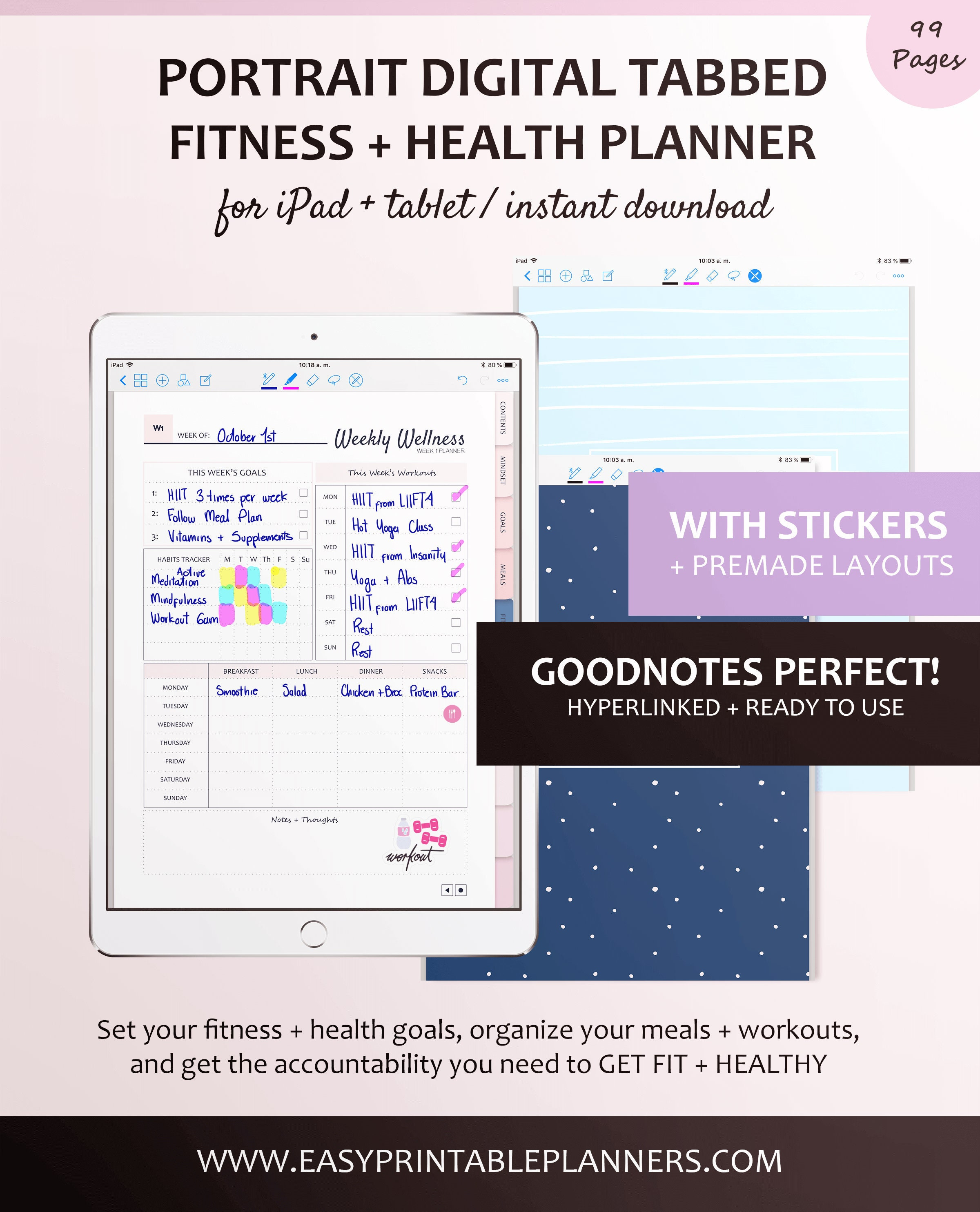 Digital Fitness Planner for Goodnotes with Stickers - Plan your Meals,  Workouts, Recipes, and Track your Goals and Weight, from your iPad