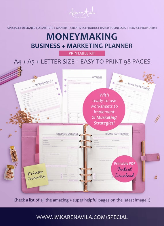 printable business planner business financial marketing etsy