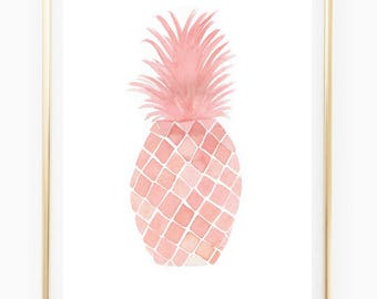 Coral Pineapple Print - Watercolor Print, pineapple decor, room art, monstera, botanical print, tropics, pineapple wall art, trending now,