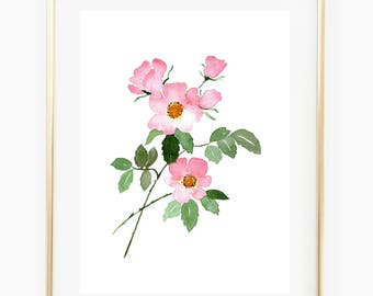 Pink roses - Watercolo Art Print, still life, wall gallery, florals, gift for her, rose wall art