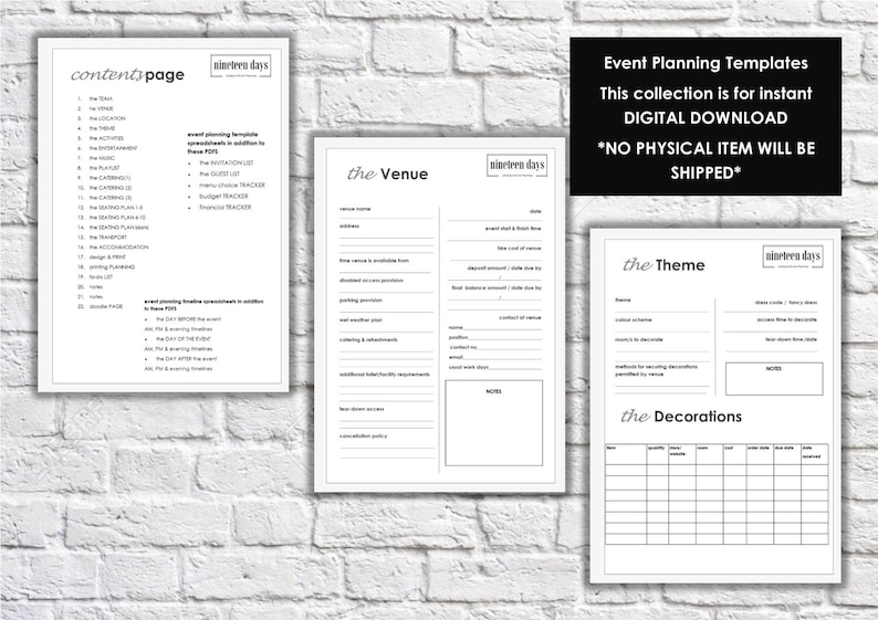 photo relating to Party Planner Templates named Celebration Celebration Designing Planner Templates Prompt Electronic Down load  A4 PDF Excel . Planner include Social gathering bash Function Advisor