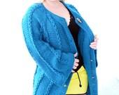 Plus size cardigan womens Dark turquoise cardigan coat Short cardigan Bell sleeve thick cardigan Spring coat wool Plus size sweater coat