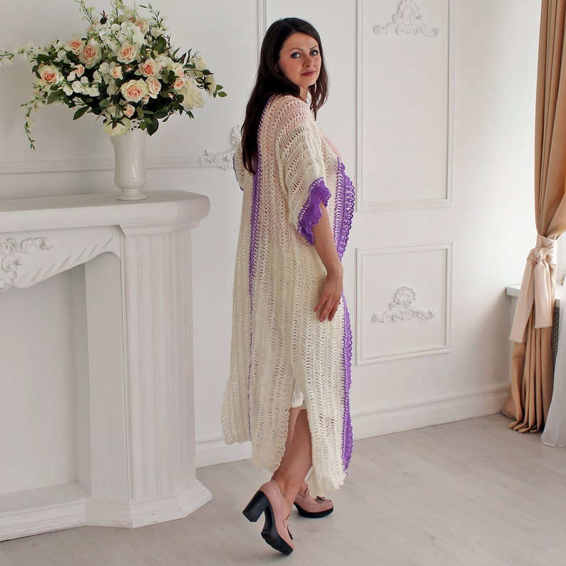 Long knit cardigan for women White cardigan  Short sleeve cardigan Wrap cardigan Lace cardigan Ladies long cardigan White cardigan vest