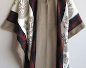 Poncho with Hood Wool Beige Red Coat Mens Cape Indigenous Native Navajo Hopi - Handmade in Ecuador