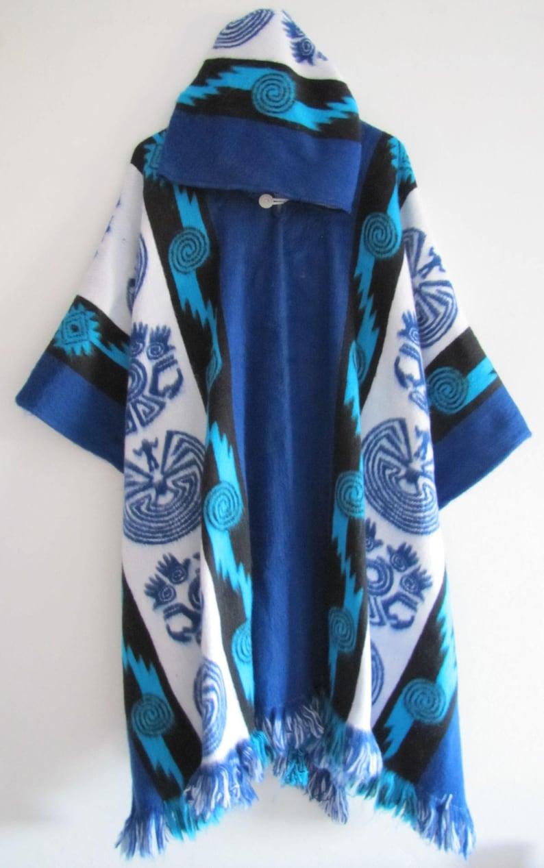 Poncho with Hood Wool Coat Mens Blue Cape Indigenous Navajo Hopi - Handmade  Ecuador