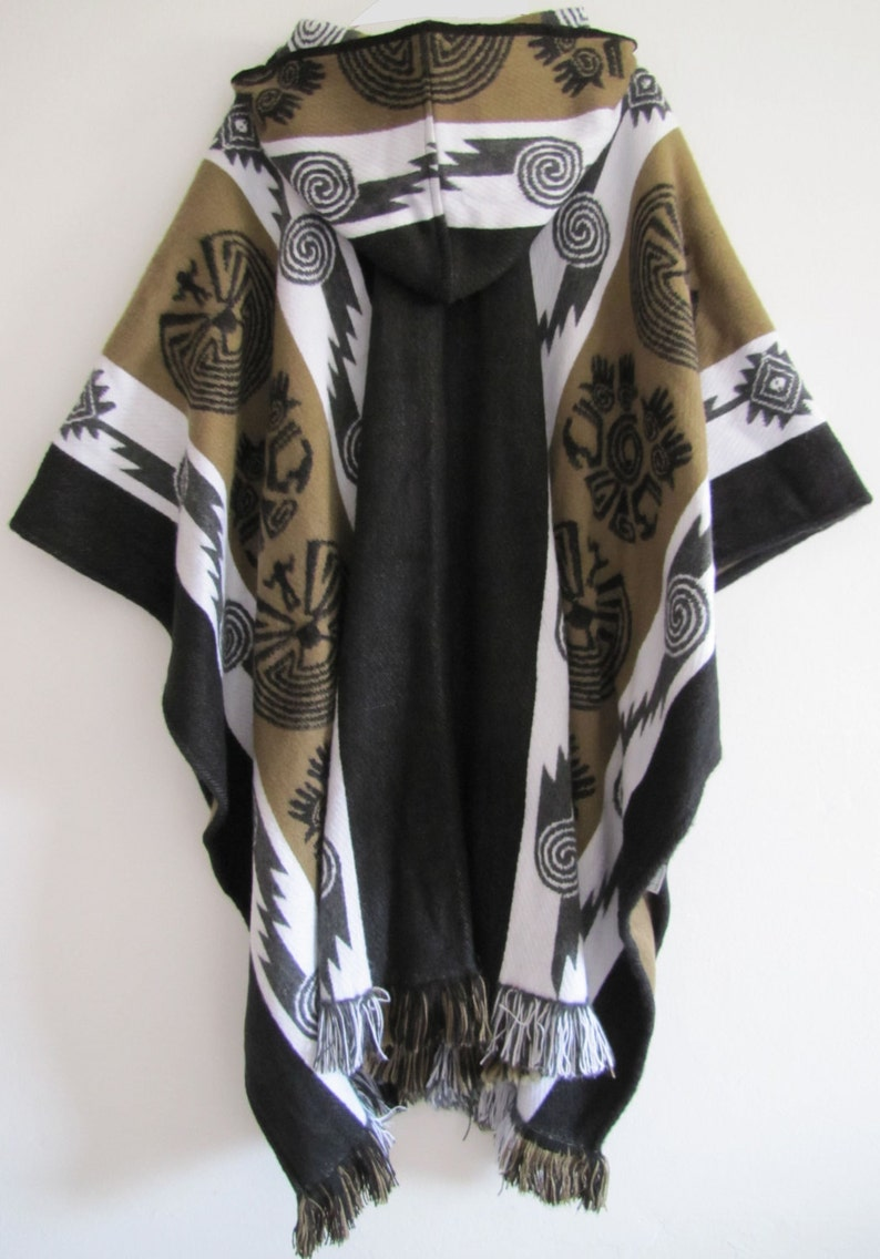 Poncho with Hood Wool Brown Coat Unisex Cape Indigenous Native Navajo Hopi Handmade in Ecuador