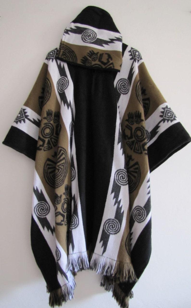 Poncho with Hood Wool Brown Coat Mens Cape Indigenous Native Navajo Hopi -  Handmade in Ecuador