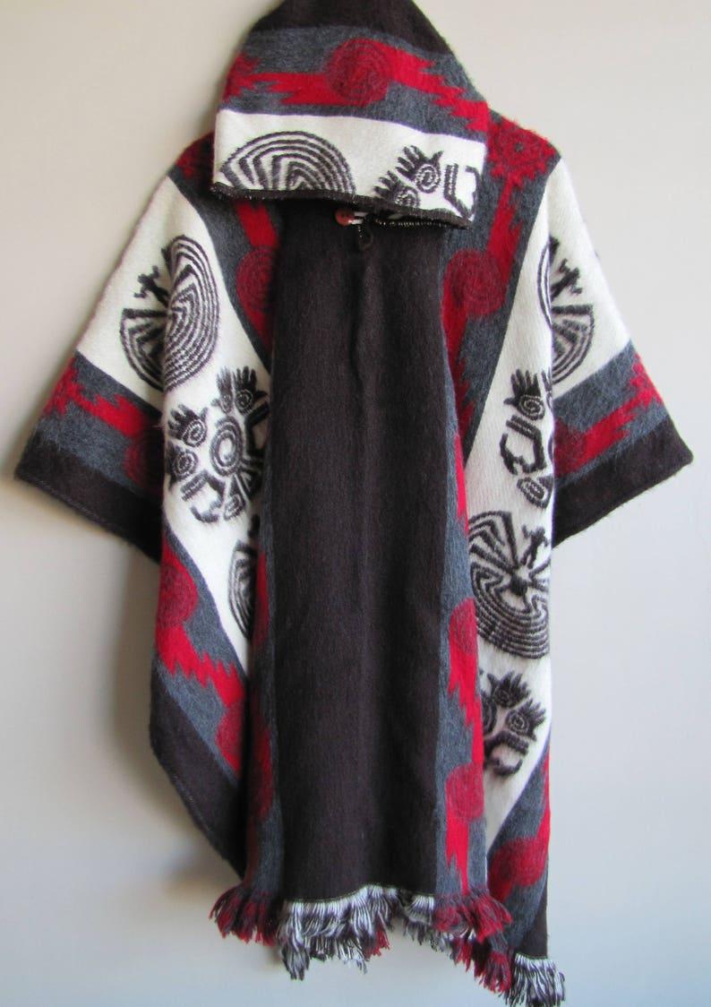 Poncho with Hood Wool Coat Mens Brown Red Cape Indigenous Navajo Hopi -  Handmade Ecuador