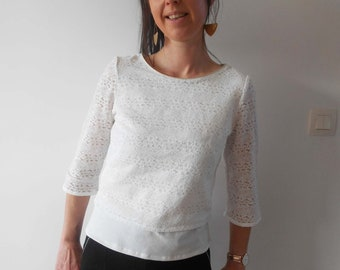 Summer top white lace sweater for women with Mesketa