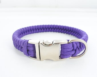 Bespoke Fishtail Braid Paracord Dog Collar. Metal Buckle.