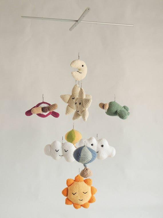 Móvil para la cuna del bebé nubes aviones sol algodón   Etsy