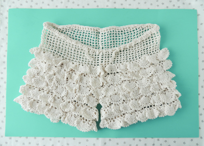 Pantalón corto blanco crudo shorts crochet algodón | Etsy