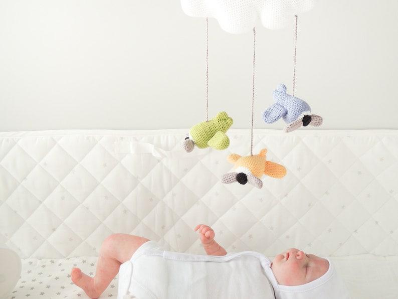Häkeln sie mobile baby mit wolken und flugzeuge dekoration etsy