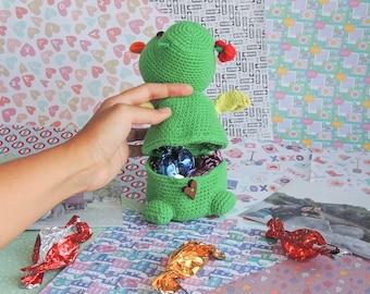 Dragon amigurumi, chocolates box, anniversary gift, Valentine's Day gift, Mother's Day gift, Grandmother gift, plush gift