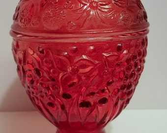 Vintage Avon Red Raspberry Trinket Dish With Lid