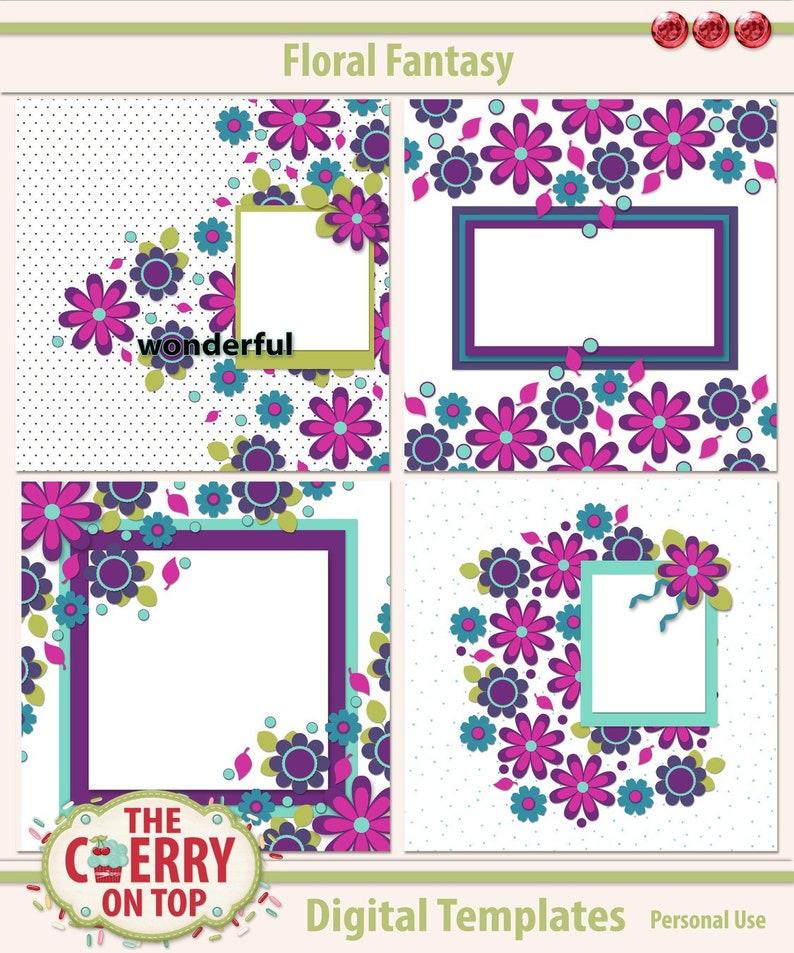 Floral Fantasy Digital Scrapbooking Templates image 0