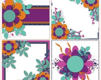 Flower Power Digital Scrapbooking Templates