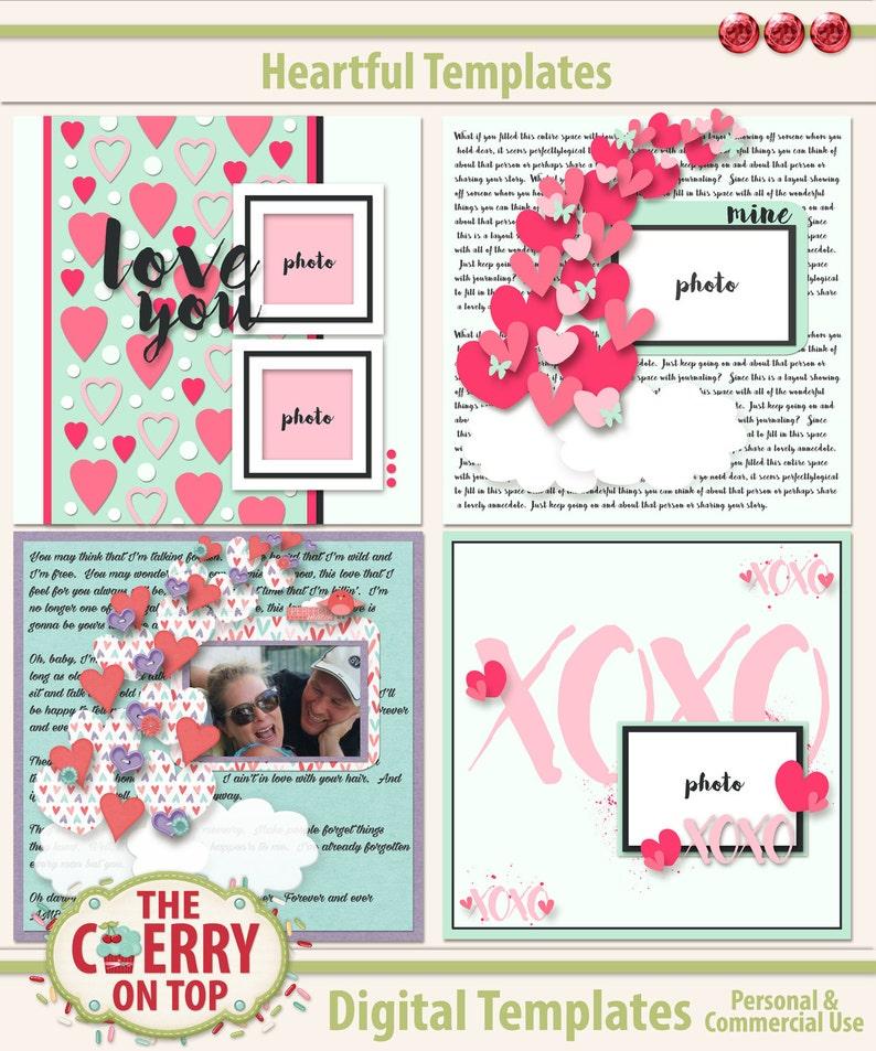 Heartful Digital Scrapbooking Templates image 0