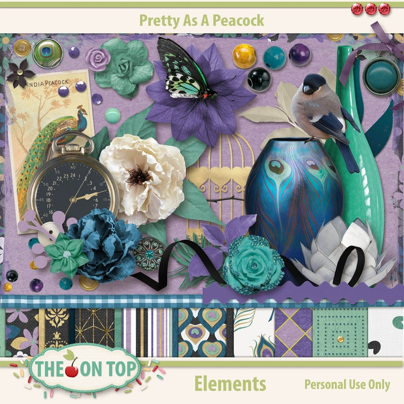 Pretty As A Peacock Scrapbooking Elements and Embellishments image 0