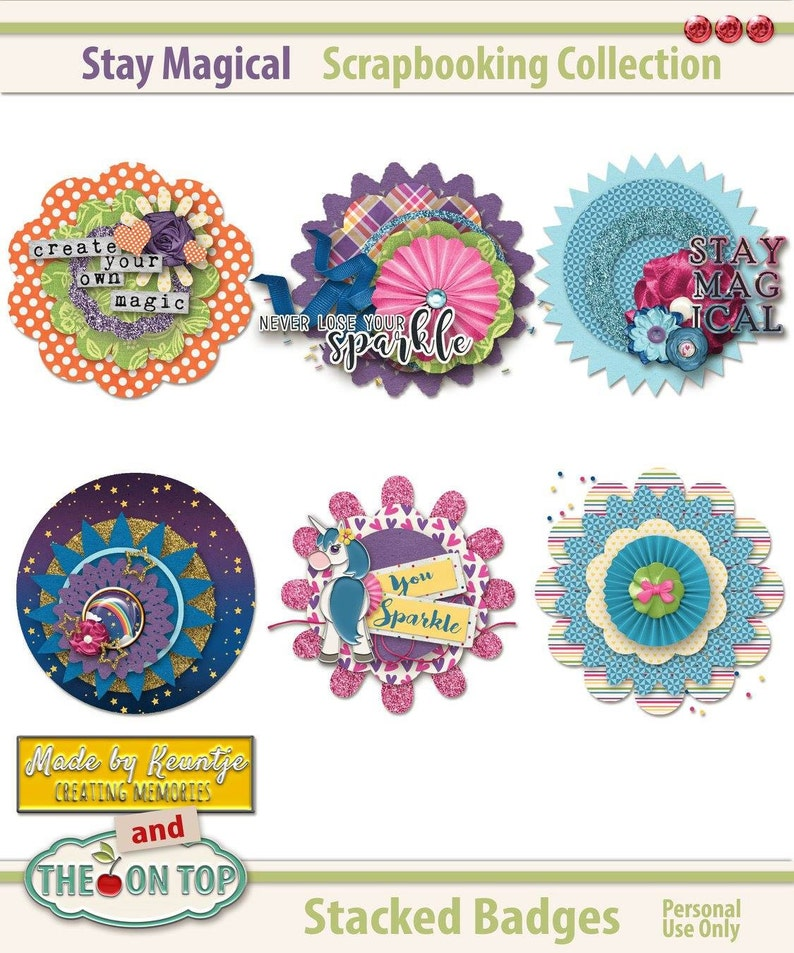 Stay Magical Scrapbooking Badges and Stickers image 0