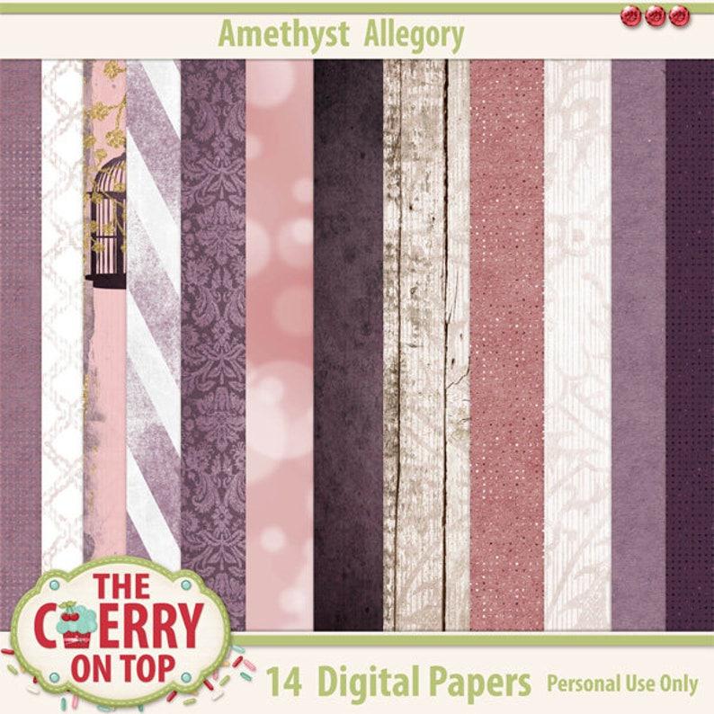 Amethyst Allegory Digital Scrapbooking Papers image 0