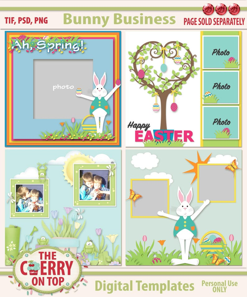 Bunny Business Digital Scrapbooking Templates image 0