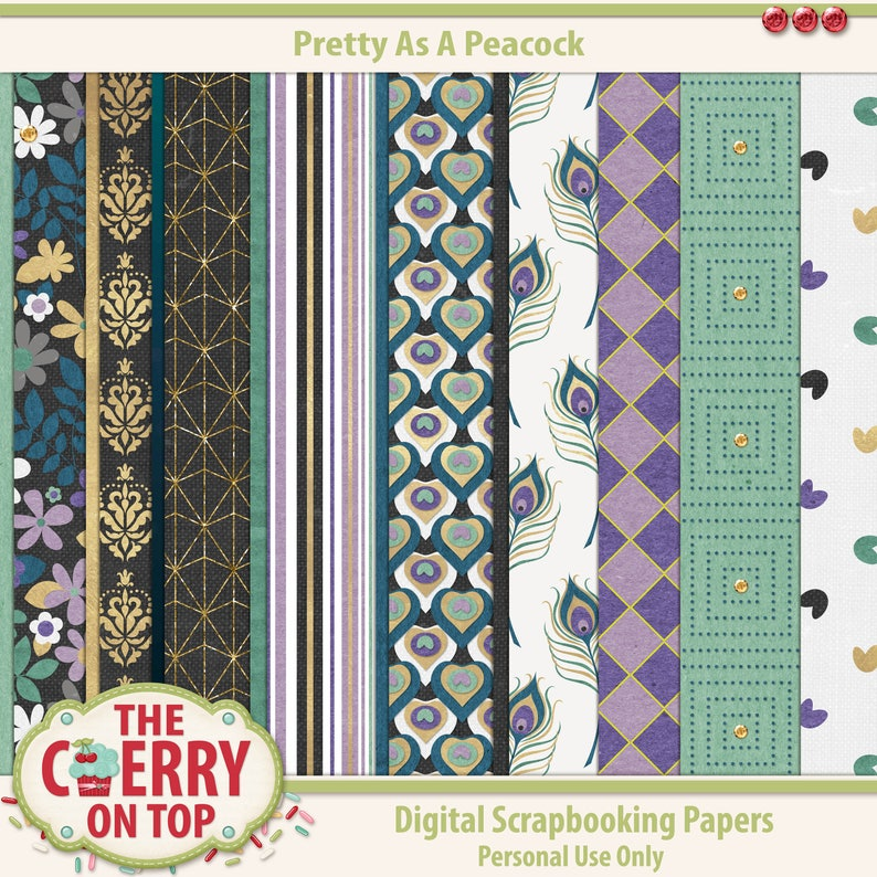Pretty As A Peacock Digital Scrapbooking Papers image 0