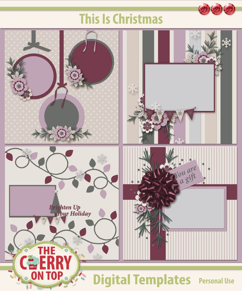 This Is Christmas Digital Scrapbooking Templates image 0