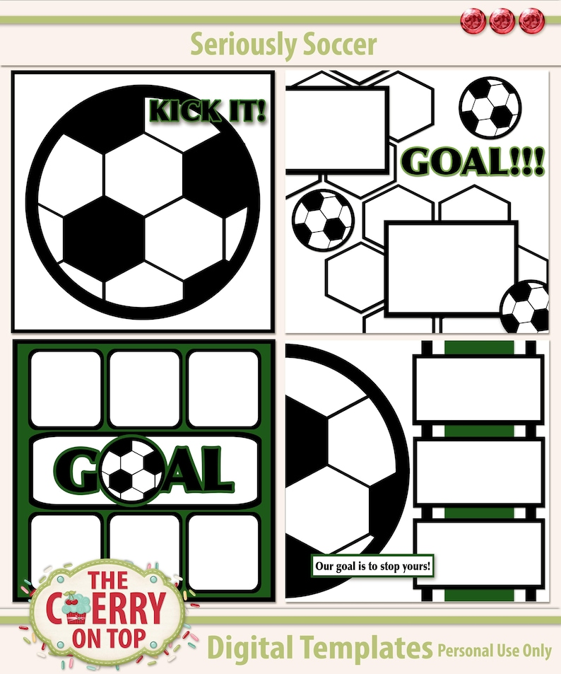 Seriously Soccer Digital Scrapbooking Templates image 0