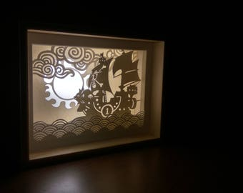 One Piece Papercut Night light,  Pirate anime aventure themed lightbox, Thousand Sunny Papercraft room decor