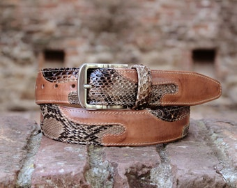 talian belt in genuine python and hand-brushed italian calfskin - From the very heart of Italy - Made in Tuscany