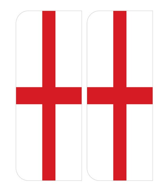 2 X England St George Flag Euro Car Number Plate Self Adhesive Etsy