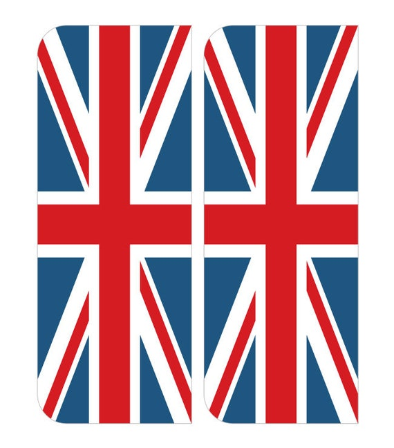 2 X Gb Union Jack Flag Euro Car Number Plate Self Adhesive Etsy