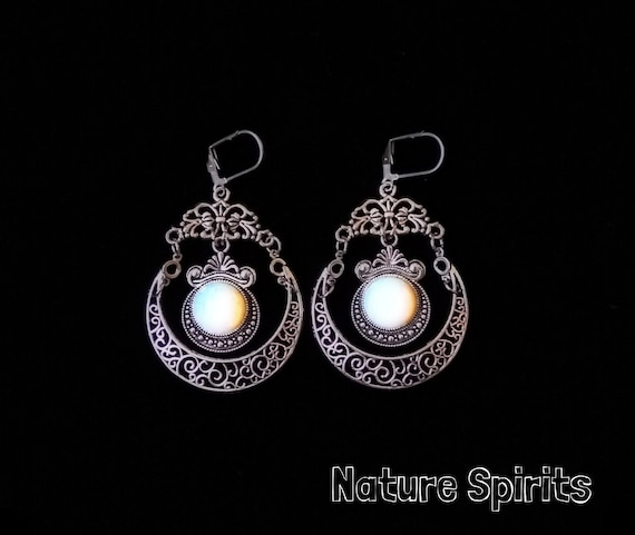 Triple moon goddess indian agat necklace wiccan witch pagan alternative crystal