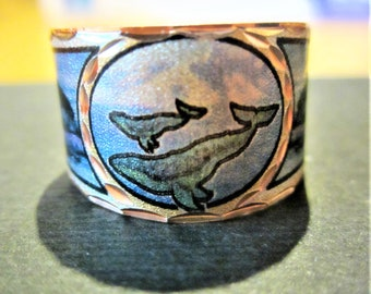 Copper /'Humpback Whale /& Calf/' Silver Plate Adjustable Ring First Nation Native Indian Art Jewelry