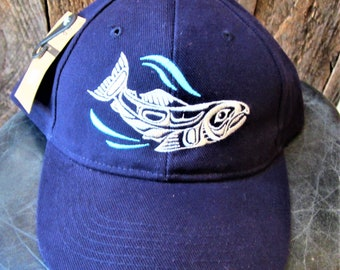 21cbdeeaba7e38 First Nations Native Haisla Sacred Salmon Back Strap Ball Cap Hat