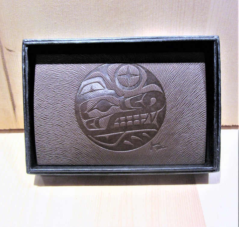 Salish First Nation /'/'Wolf/'/' Business Card Holder Native Indigenous Art