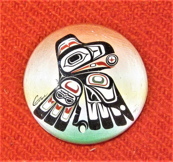 First Nations Native Westcoast Wolf Glass Stick On Fridge Magnet