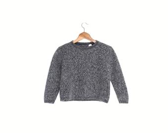 738ce7742eddb Mohair wool sweater, Minimalist steel gray jumper, Vintage apres ski,  Natural fiber knit clothing, Vtg Italian winter top, small s medium m