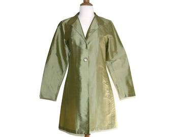 1b3cd49104d 100% Silk sage green vintage jacket, Vtg natural fiber tunic top, Light  work blazer, Made in the USA, small s medium m